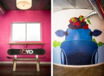 SoYo signature snowboard bench and cow mural.